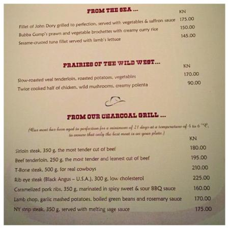 Hotel Croatia Cavtat: Steak House menu page