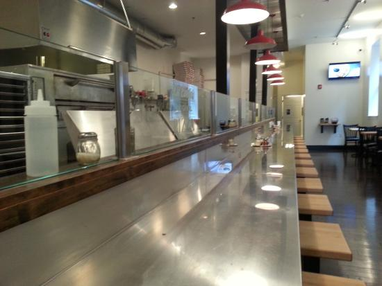DiCarlo's Pizza - York: Very modern interior with vintage early photos on the walls.