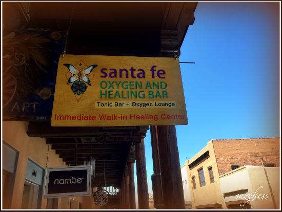Santa Fe Oxygen & Healing Bar: Sign on San Francisco St.