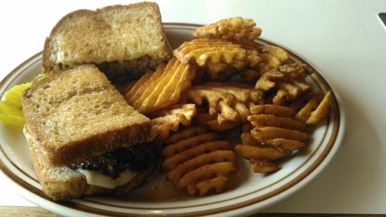 Cannon Falls, MN: Patty Melt with Spicy Waffle Fries.