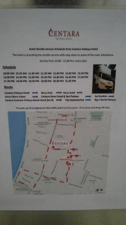 The Nova Gold Hotel Pattaya: shuttle bus time table