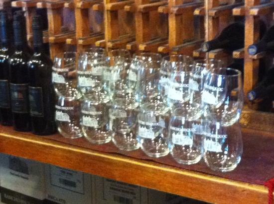 Rancho Sisquoc Winery : The glasses are ready for drinkers.