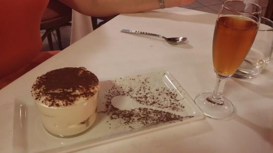Ristorante Com E': House tiramisu, with a glass of Moscato.