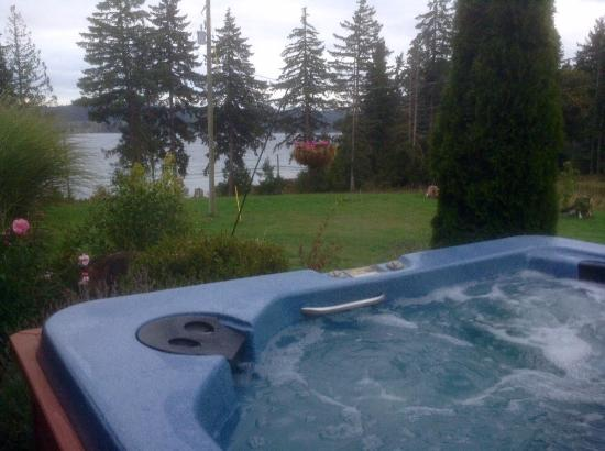 Courtenay, Kanada: Hot tub with a view,  I am going to miss it.