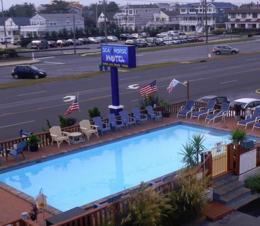 Long Beach Township, Nueva Jersey: View of pool from our room