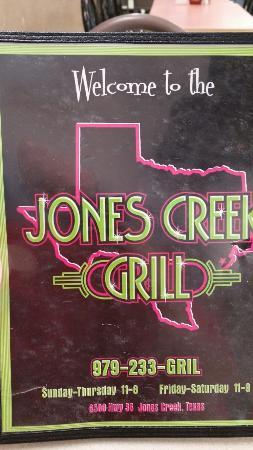 Jones Creek, เท็กซัส: Front menu