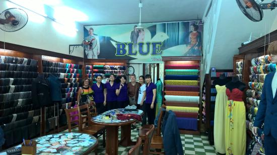 Blue   Ms Tam Tam: Blue Clothes Shop with Staff and Clients (us)