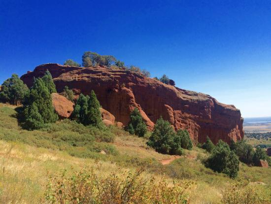 Matthews/Winters Park: Coming down from the high point of Red Rocks Trail, you're rewarded with this!