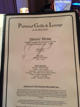 Portneuf Grille & Lounge: Menu
