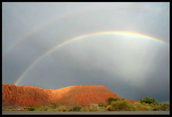 Xetava Gardens Cafe: rainbow over red mountain