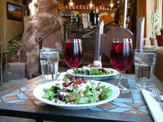 Xetava Gardens Cafe: house salad and sangria