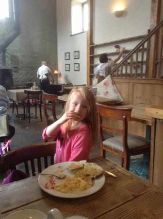 The Barn Cafe Bistro: My daughter having scrambled eggs