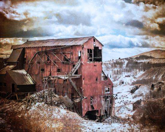 Victor, CO: The Vindicator Ore House in the Snow