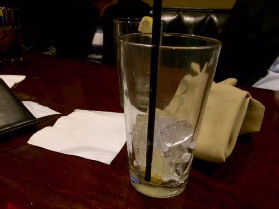 North Chelmsford, MA: Empty water glass. Lemons are complimentary here.