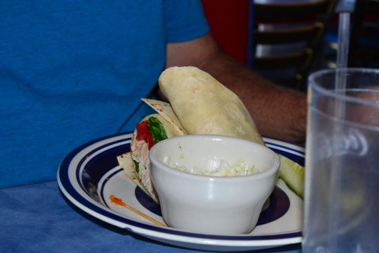 AJ's On the Lake: Tuna Salad Wrap and Cole Slaw