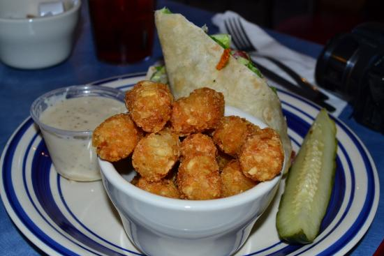 AJ's On the Lake: Chicken Ceasar wrap with Tater Tots