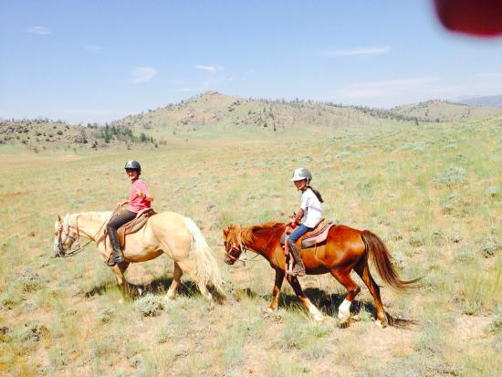 """Bitterroot Ranch: kids on the trail -my daughter did not want a large horse, so she had """"Brave"""" a perfect pony!"""