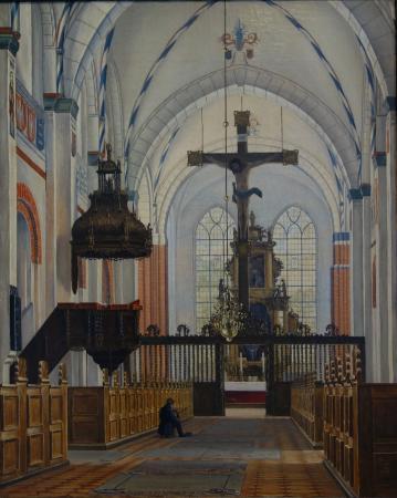 Soroe, الدنمارك: Thorald Læssøe: Part of Sorø Church with Seated Painter