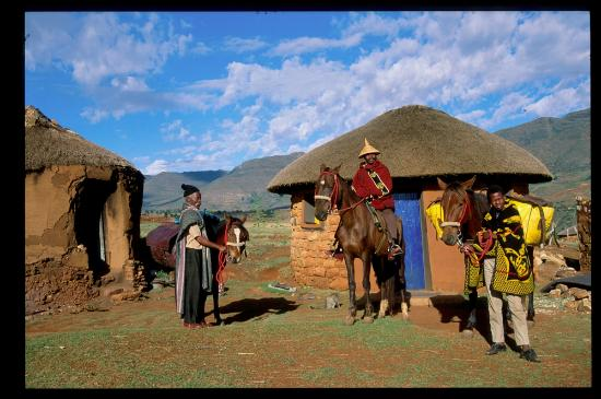 Setting up for an overnight pony trek from Malealea Lodge, Lesotho
