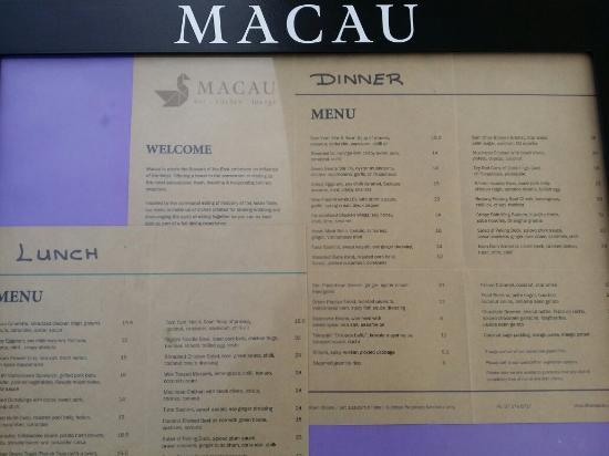 Macau Restaurant Tauranga Menu