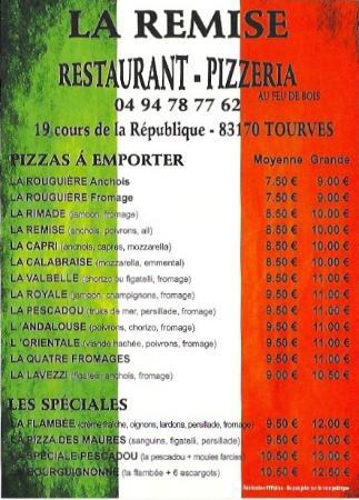 La Remise Carte Pizzas Emporter