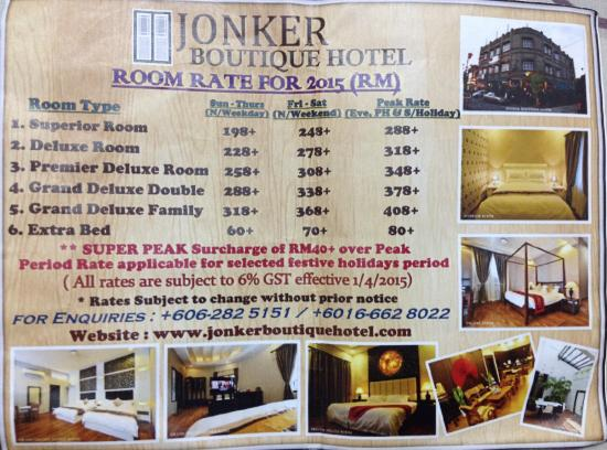 Price list picture of jonker boutique hotel melaka for Boutique hotel list