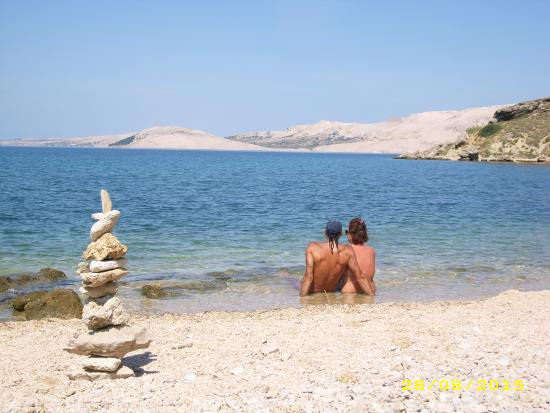 Island of Pag, Kroatië: Basaca beach, Pag, relax...