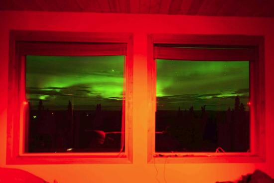 Aurora Borealis Lodge: Aurora can be viewed through the big window from your room
