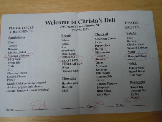 Christa's Country Corner: Menu where you circle your choices and list your name
