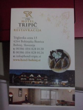 Hotel-Pension Tripic: Nosso cartãozinho lindo, lugar maravilhoso