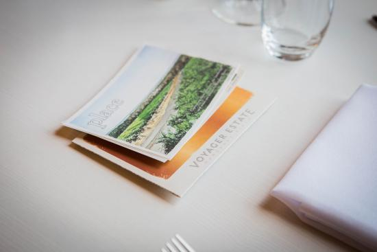 Voyager Estate: Illustrated postcards introduce each course of our Discovery Menu