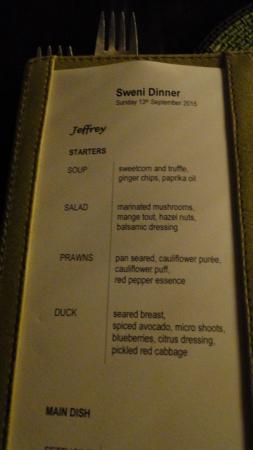 Singita Sweni Lodge: Dinner menu