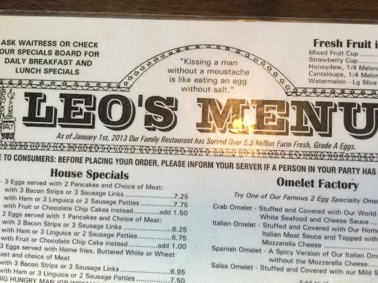 Leo's Breakfast Restaurant: Top of Menu
