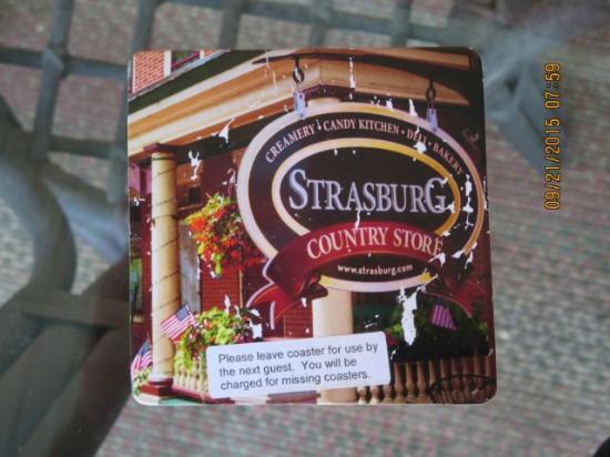 Strasburg Village Inn: Cardboard coaster