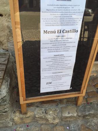 El Castillo: Menú