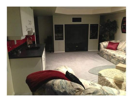 "Redwood Meadows Bed & Breakfast: Our Home Theatre Room with 61"" HD TV"