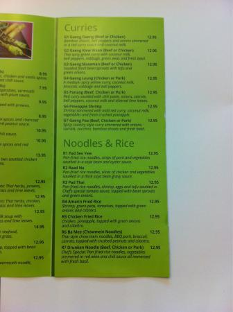 Menu picture of amarin thai restaurant vernon tripadvisor for Amarin thai cuisine menu