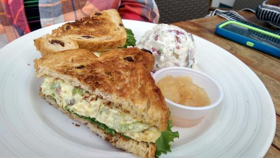 Chicken salad sandwich with dill potato salad and for Cookery fish creek