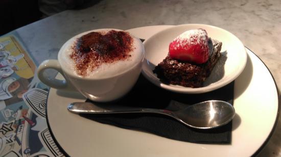Kids Menu Desert Chocolate Brownie And Hot Chocolate
