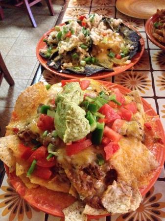 Tortilla Flats: traditional nachos and blue crab nachos