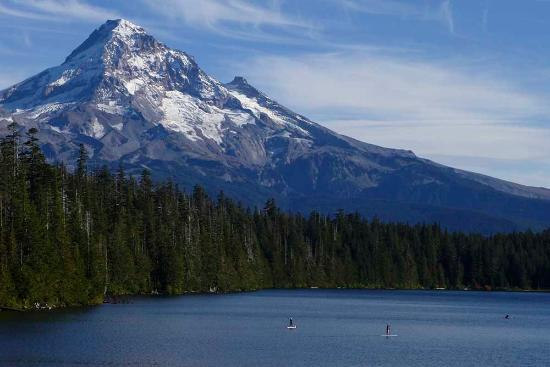 Hood River, OR: Zoomed in scene of paddle board in front of Mt Hood