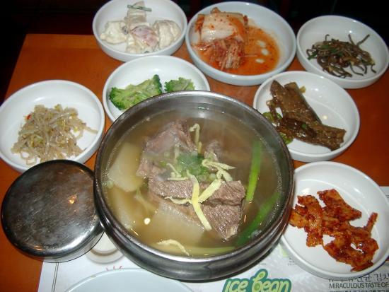 Kum Gang San: カルビスープとおかずとご飯