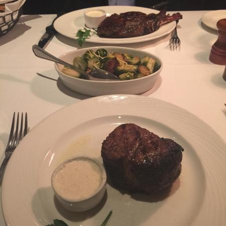 The Palm - Tysons Corner: Delicious donut desert and filet mignon with Brussel sprouts