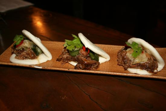 The Aarli: Steamed sticky beef buns with red chilli and pickled cucumber