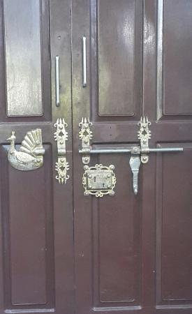 "Country Club Rock Springs: The Kerala type "" Manichitrathazh  Lock"" in the entrance door to our room"
