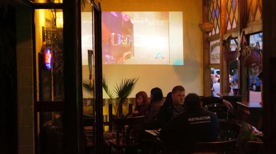 Grapevine Pub: You don't miss the action if you smoke and have to sit outside as you have a projection screen t