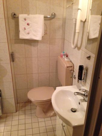 Hotel Franken: Bathroom, a bit narrow close to the wc
