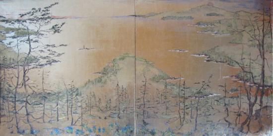 Winter Harbor, ME: View from Pigeon Hill Painted in kinpakku- Japanese Gold Leaf