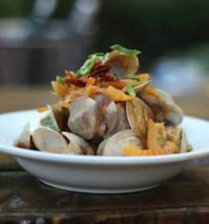 Bistro Ten Zero One: Roasted Florida Cedar Key Clams with garlic, fennel. jalapeño & crispy prosciutto