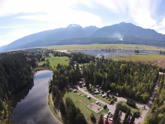 Williamson's Lake Campground: Williamson Lake from the air, Mt. Begbie in the background
